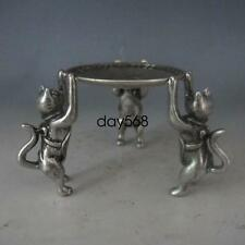 Superb Chinese Silver Bronze Handwork Plate w 3 Cats