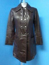 53389 Fantastic Vintage Dark Brown GENUINE Real LEATHER Women Coat Jacket