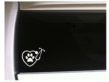 """Heart Stethescope with Paw Prints Vinyl Car Decal Sticker 6"""" L96 Pets Animals"""
