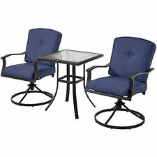 Bistro Set 3 Piece Glass Table Top Swivel Chairs Blue Patio Outdoor Furniture