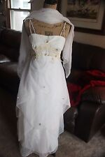 FLOWER IVORY DRESS VINTAGE WOMEN WEDDING FORMAL EVENING COCKTAIL SMALL? PARTY
