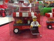 Custom Lego popcorn cart with minifigure...assembled in gift box.