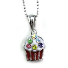 White Red Cupcake Pendant Necklace Birthday Party Children Kids Charm Jewelry a1