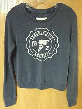 NWT Abercrombie & Fitch Womens Navy Embroidered Logo Graphic Sweatshirt ~ S