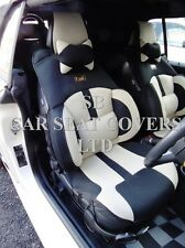 TO FIT A MINI COOPER CAR, SEAT COVERS, BO 4 ROSSINI MESH SPORTS BEIGE + BLACK