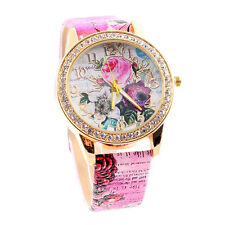 Flower Fashion Women Elegant Quartz Rhinestone PU Leather Casual Wrist Watch US