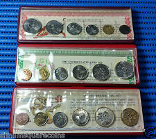 1986,1987 & 1988 Singapore Tiger, Rabbit & Dragon Uncirculated Coin Set (1¢-$1)