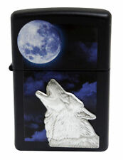 Zippo Windproof Lighter With Howling Wolf Emblem and Moon, 28879, New In Box
