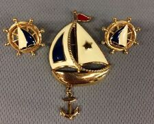 Vintage AVON Enamel Gold Tone SAILBOAT Brooch Pin Anchor Charm & Earrings Set