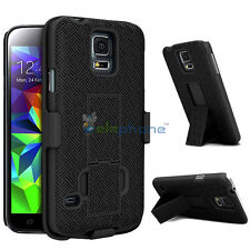 Black Swivel Holster Stand Belt Clip Case Cover For Samsung Galaxy S5 S V I9600
