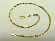 "NEW 9ct Yellow Gold Singapore link 10""(25.5cm) Anklet * Fully Hallmarked *"