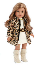 Fashion Girl - Clothes for 18 inch Doll, Cheetah Coat Cotton Dress High Boots