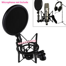 Microphone Shock Mount Stand Holder with Integrated Pop Filter Black Kit DB
