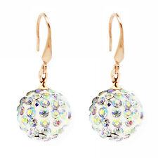 Gold & AB Crystal Rainbow Shine Drop Dangle Ball 14 mm Women Earrings E1004
