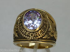 United States Air Force Military June Lt Amethyst CZ Birthstone Men Ring Size 12