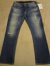 TRUE RELIGION RICKY Super T Bleached & Ripped  Jeans 34 x 32 GREATEST HITS $398+