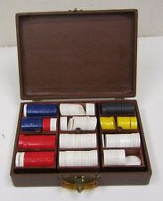 Vintage Mid Century Traveling Poker Players Chips & Chase Wooden Racks