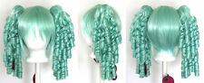 18'' Ringlet Curly Pig Tails + Base Mint Green Cosplay Lolita Wig NEW