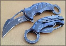 MTECH XTREME TWO TONE WOOD HANDLE KARAMBIT KNIFE 5 INCH CLOSED WITH CLIP 440