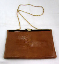 Vintage Etra Genuine Leather Purse Envelop Bag Chain Evening Clutch Brown Croc