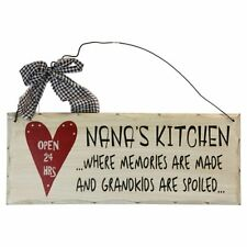 "Nana's Kitchen Open 24 hrs Wood Decorative Plaque Gifts for Grandparents10""x 4"""