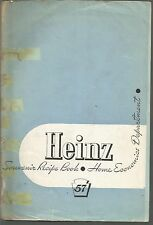 Heinz 57 Souvenir Recipe Book Home Economics Department PB