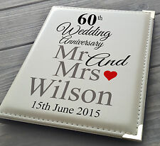 "Personalised 7x5"" x 36 photo album, memory book, 60th Wedding Anniversary gift"