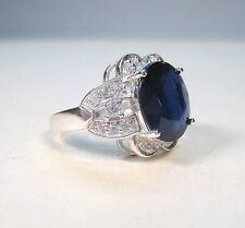5.63 CTW BLUE & WHITE SAPPHIRE RING size 7 - WHITE GOLD over 925 STERLING SILVER