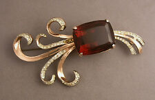 Large Coro Craft Sterling Vermeil Retro Spray Brooch w/ Chunky Red Stone