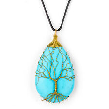 Blue Turquoise Tree-Of-life pendant Copper Wire Wrapped Necklace Best Gift