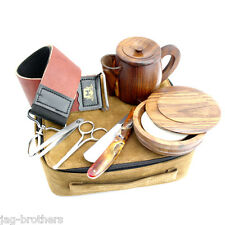 OLD TRADITIONAL STYLE GROOMING KIT STRAIGHT CUT THROAT LEATHER STROP