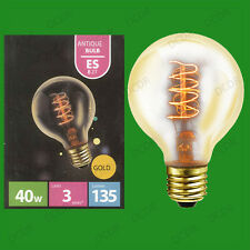 40W Antique Vintage Gold G80 Dimmable Globe Light Bulb Edison Screw ES E27 Lamps