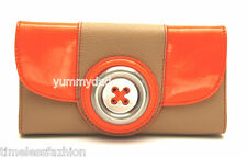 MIMCO LUSTRE BUTTON LEATHER WALLET IN CAMEL NEON ORANGE BNWT RRP$169