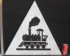 TRAIN SIGN old thick aluminum steam engine railroad track crossing vintage used