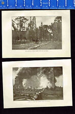 Texas Oil Wells & Fire in the South -1909 Historical Prints