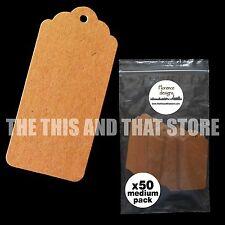 50 x Blank Buff/Manilla/Kraft/Brown Scallop Hang Tags/Price Label/Gift Tag Pack