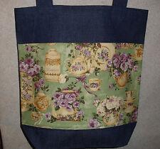 NEW Handmade Teapots & Lavendar Garden Roses Large Denim Tote Bag