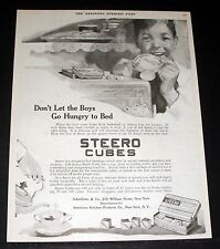1919 OLD MAGAZINE PRINT AD, STEERO CUBES, DON'T LET THE BOYS GO HUNGRY TO BED!