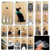 For iPhone 6 6S 6Plus 4S 5S 5C Cover Animal Painted TPU Rubber Clear Phone Case