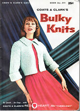VINTAGE 1956 COATS & CLARKS BULKY KNITS BOOK #511 KNITTING PATTERN BOOK