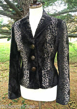 Earl Rutenberg brown black faux fur leopard blazer jacket coat NWOT S