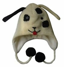 Dog Rabbit Animal Hat Ear Flaps Dips Knitted Fleece Lined Winter Black White new