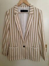 Zara Striped Blazer Boyfriend Jacket White Beige Size Small 10-12 RRP £49.00