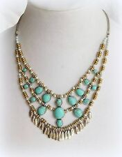 $69 NWT LUCKY BRAND Drama Turquoise Fringe Charm Statement Necklace Silver Gold
