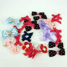 30 X ASSORTED  RED RIBBON FLOWERS & BOWS CARD DECORATION  HAIR CLIPS AA