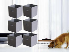 6 Pieces Home Storage Bins Organizer Fabric Cube Boxes Basket Gray Container