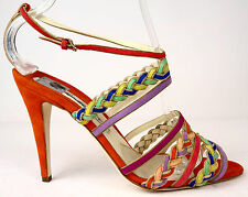 Brian Atwood Strappy Multi-Color Coral Suede Anke Strap Pumps Heels 39.5 9 $1395
