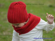 Knitting Pattern - Tiny Cables Hat and Scarf Set (Baby, Child and Adult sizes)