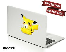 Macbook Air Pro Vinyl Skin Sticker Decal Pokemon Go Pikachu Cute Eat Rice BN084