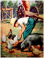"16x20""Decoration CANVAS.Interior design.Room art.Kid feeding chicken,pigs.7177"